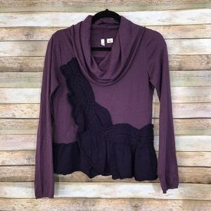 Anthropologie Moth Switching Sides Plum Sweater S